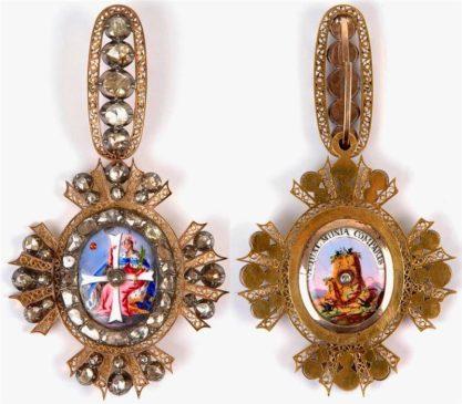 Знак ордена Святой Екатерины II степени (лицевая и обратная стороны)