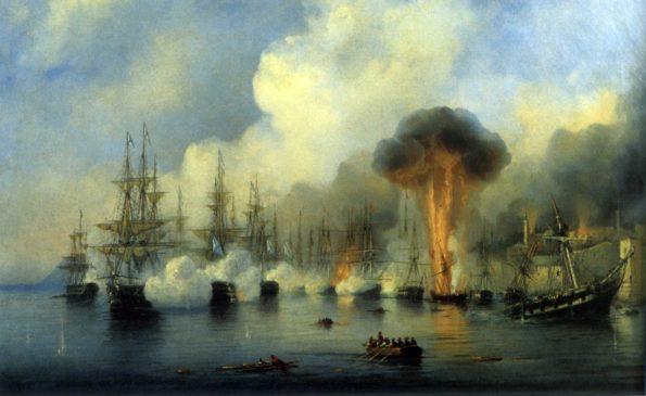 Картина А.П. Боголюбова «Синопский бой 18 ноября 1853 года»