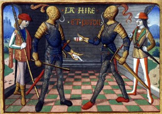Ла Гир и де Сентрайль, изображенные на книжной иллюстрации 15 века