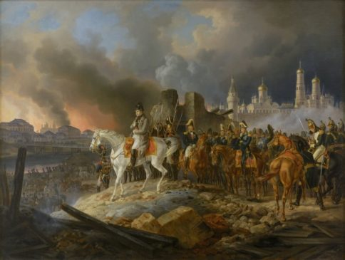 Вступление армии Наполеона в опустевшую Москву.