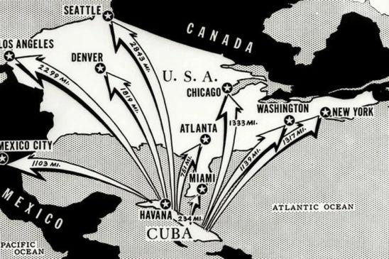 Радиус покрытия ракет, дислоцированных на Кубе