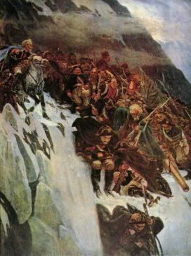 Фрагмент картины В.И.Сурикова «Переход Суворова через Альпы»