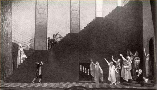 Художник В.Егоров. Сцена из спектакля «Синяя птица» на сцене МХТ, 1908 год