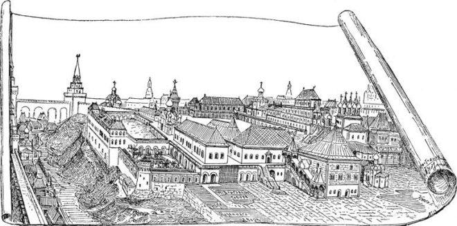 Царские дворцы в 17 веке (по рисунку А.Потапова)